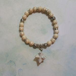 Natural White Howlite Bracelet
